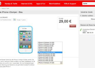 Custodia Bumper iPhone 4S, Vodafone Germania