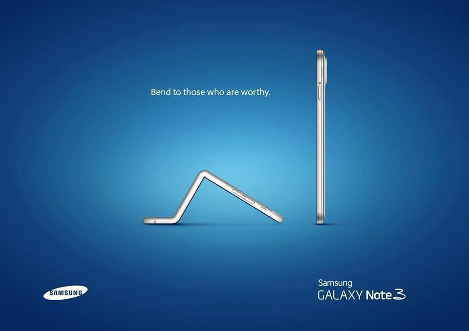 Pubblicità Samsung iPhone piegato