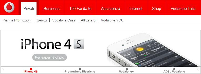 iPhone 4S con Vodafone Italia